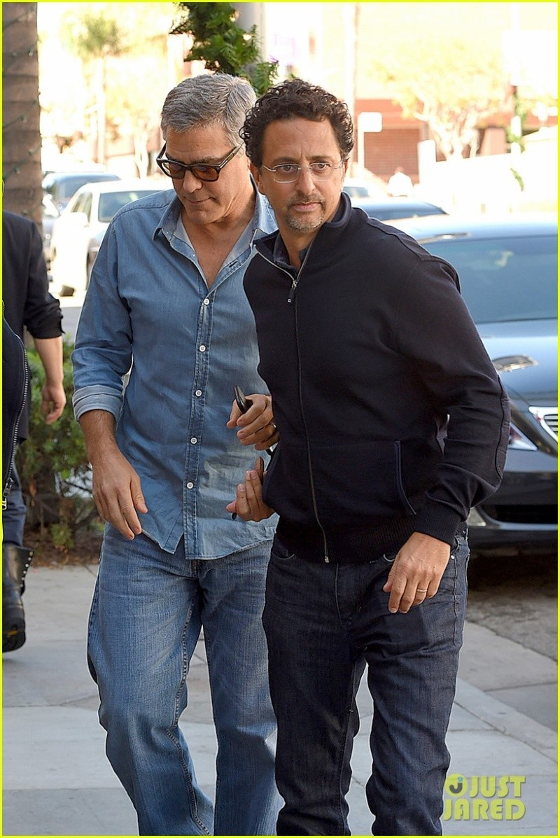 George Clooney and his friend Grant Heslov leaving The Palms restaurant in Beverly Hills… New410