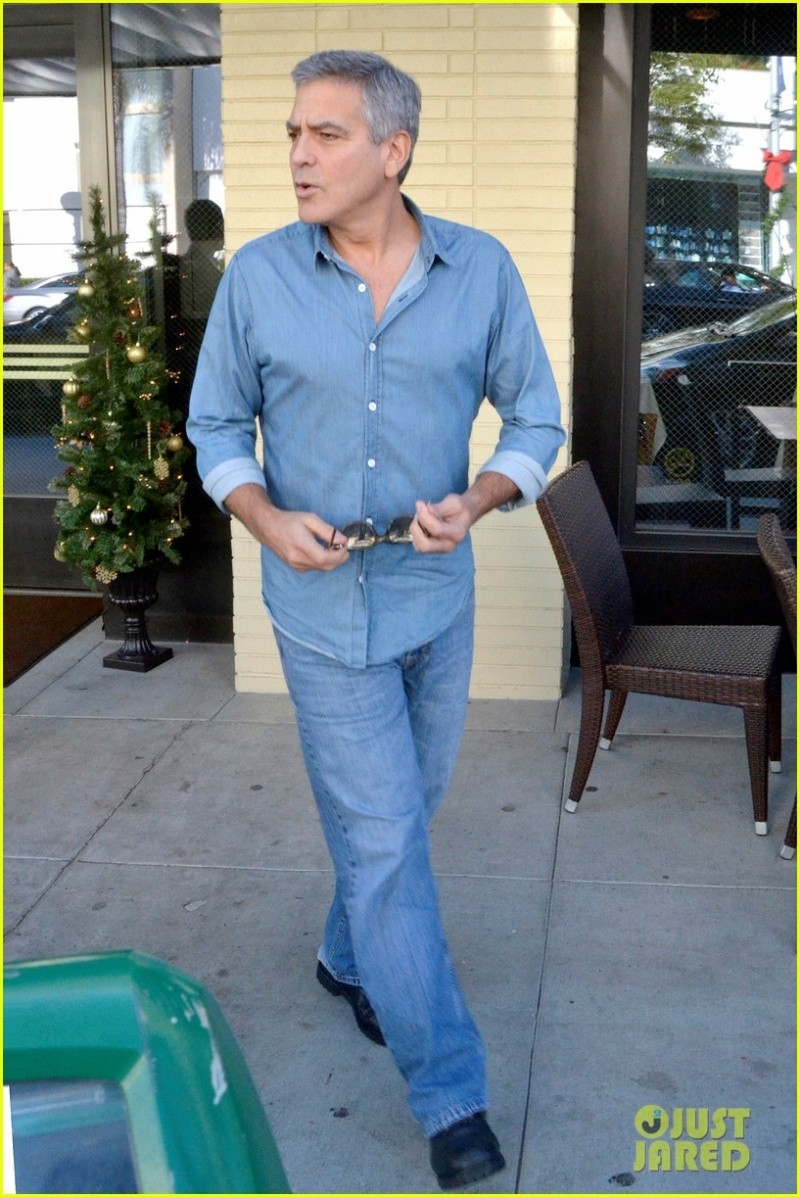 George Clooney and his friend Grant Heslov leaving The Palms restaurant in Beverly Hills… New610