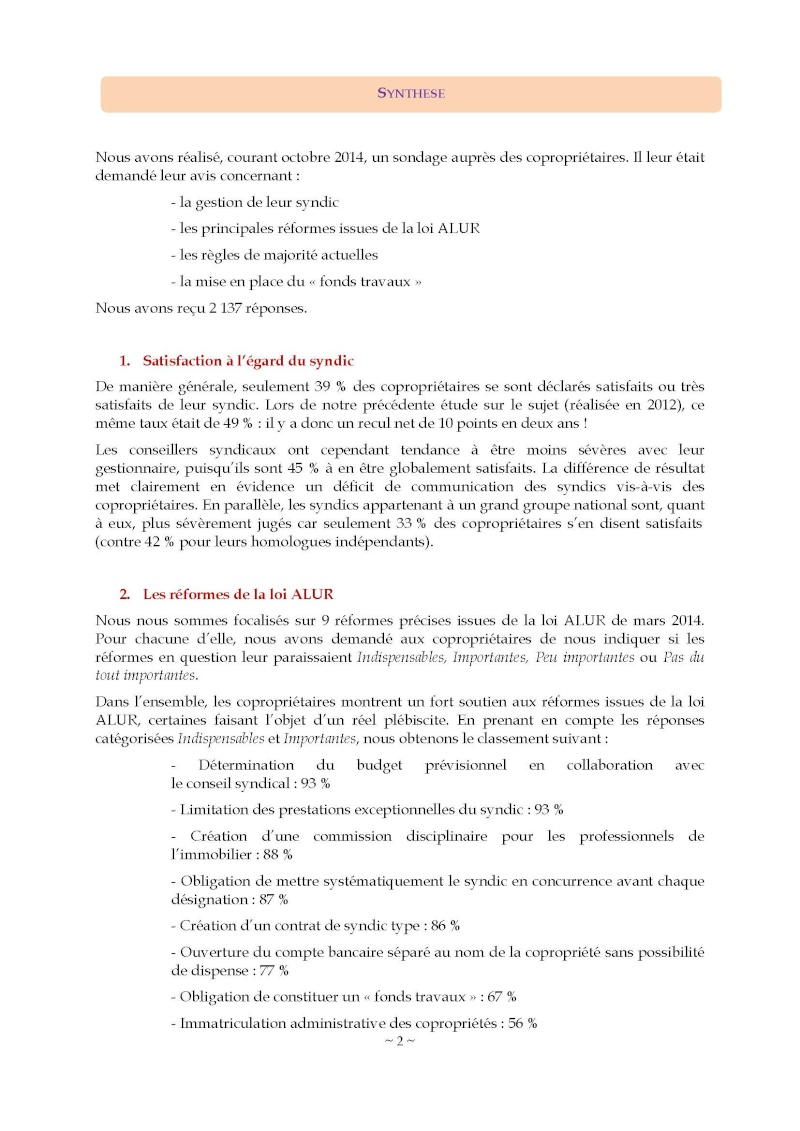 10nov 2014 - Evaluation enquête qualité Syndic Barome11