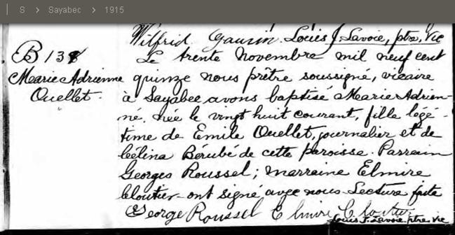Ouellet, Adrienne Vignola 1915 - 2014 Adrien10