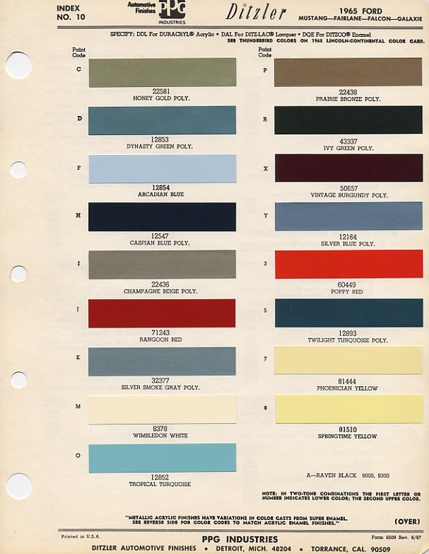 Couleurs Ford 1964 - 1973 1965_f10