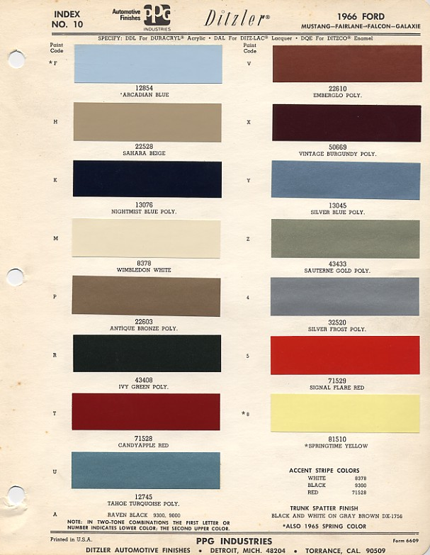 Couleurs Ford 1964 - 1973 1966_f10