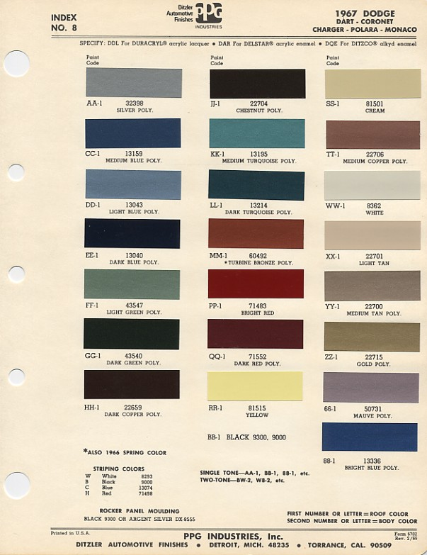 Couleurs Dodge 1965 - 1973 1967_d10