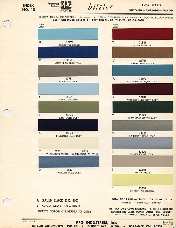 Couleurs Ford 1964 - 1973 1967_f10