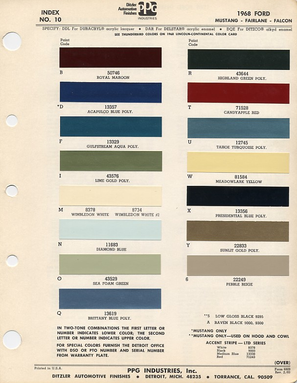 Couleurs Ford 1964 - 1973 1968_f10