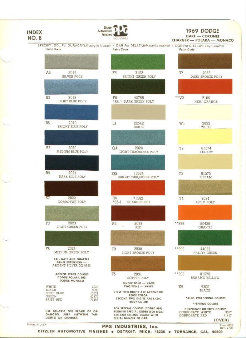 Couleurs Dodge 1965 - 1973 1969_d10