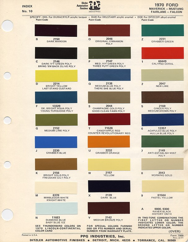 Couleurs Ford 1964 - 1973 1970_f10