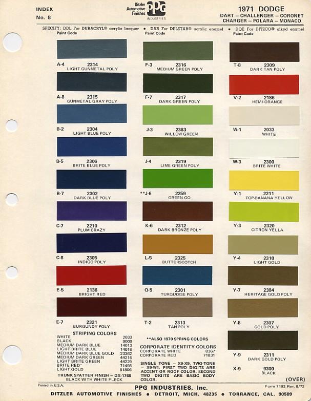 Couleurs Dodge 1965 - 1973 1971_d10