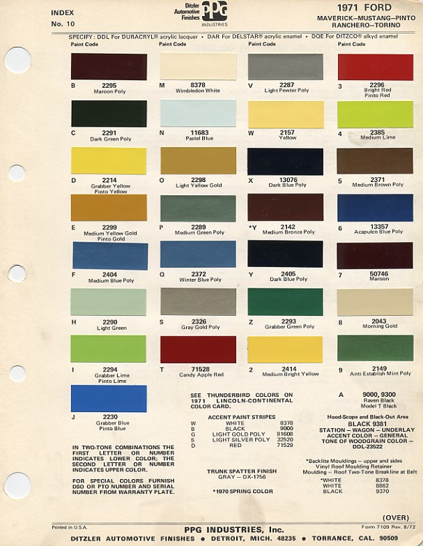 Couleurs Ford 1964 - 1973 1971_f10