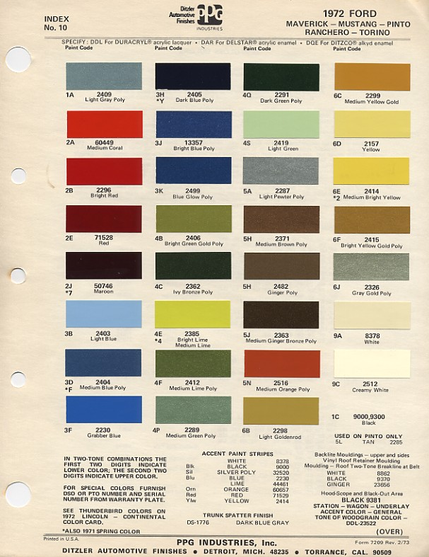 Couleurs Ford 1964 - 1973 1972_f10