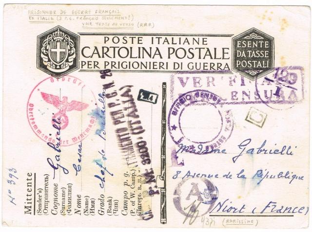 PRISONNIER DE GUERRE FRANÇAIS  1943/44  EN  ITALIE Ccf04111