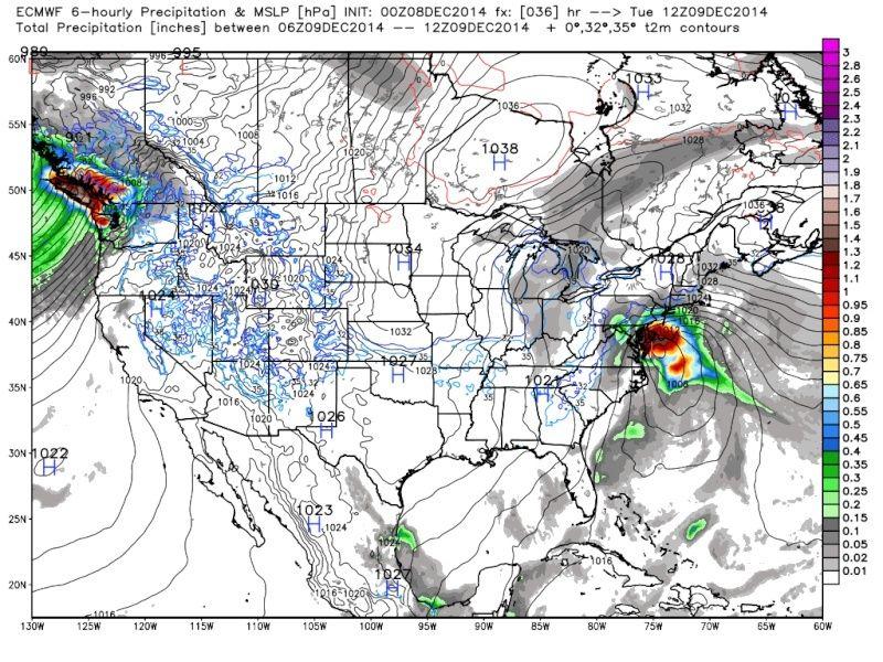 December 9th-10th Forecast Map(s) Cut-Off Coastal Storm Ecmwf_15