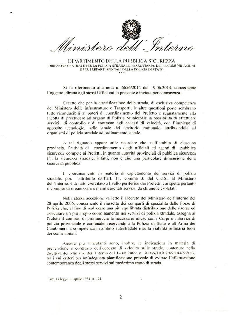 risposta definitiva del ministero ; NO alle polizie locali su strade extraurbane principali e autostrade  Min_in11