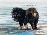 Le peintre chinois Lin Yue et sa muse : le mastiff tibétain Pe110