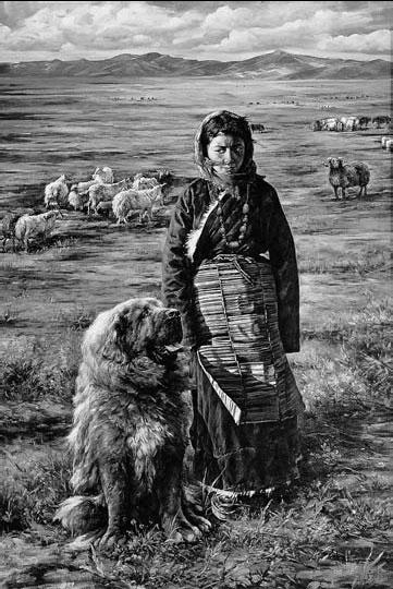 Le peintre chinois Lin Yue et sa muse : le mastiff tibétain Pe210