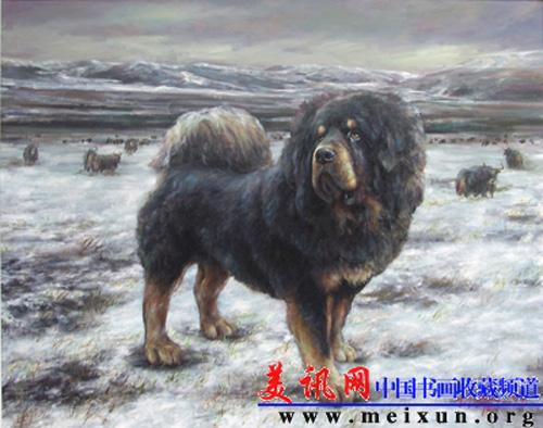 Le peintre chinois Lin Yue et sa muse : le mastiff tibétain Pe310