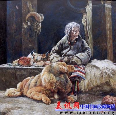 Le peintre chinois Lin Yue et sa muse : le mastiff tibétain Pe410