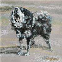 Le peintre chinois Lin Yue et sa muse : le mastiff tibétain Pe510