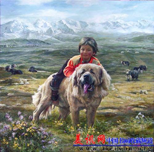 Le peintre chinois Lin Yue et sa muse : le mastiff tibétain Pp110