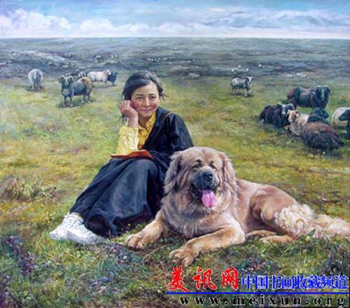 Le peintre chinois Lin Yue et sa muse : le mastiff tibétain Pp210