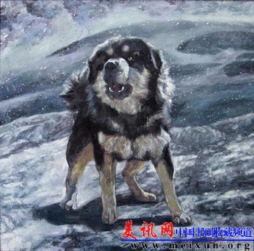Le peintre chinois Lin Yue et sa muse : le mastiff tibétain Pp310