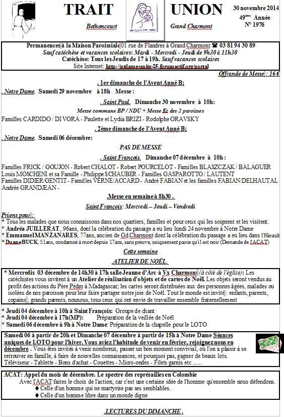 Trait d'union du 30 novembre 2014 Tu301110