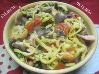 Pâtes Spätzle au saumon et champignons.+ photos. Img_4213