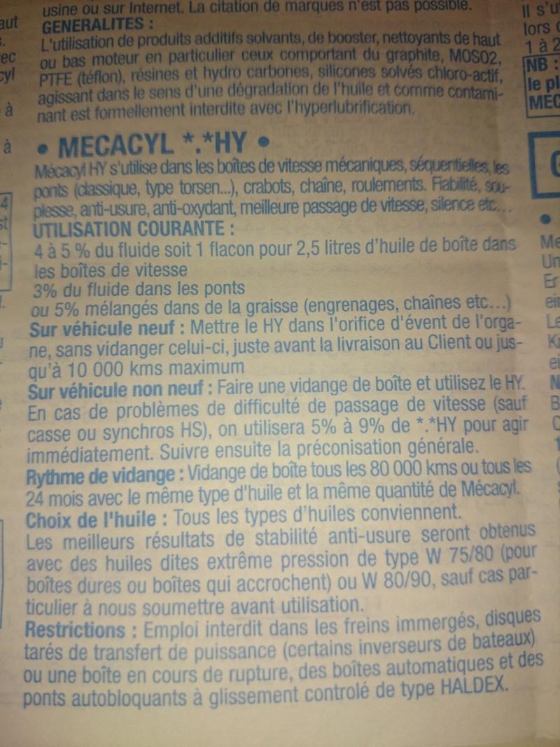Huile de boite de vitesses pour 2.0 16S Mycacy12