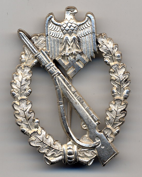 """Rare variante de Infanterie Sturmabzeichen in silber, S&L, """"Oval Hinge set up"""" Isa_ov12"""