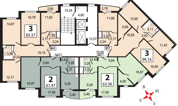 Бутово парк 2Б планировка квартир корпуса 3 Bp2b_k17
