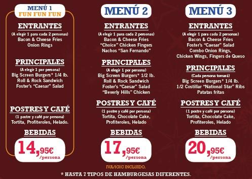 Elección Menu para restaurante FOSTER del Neptuno 110