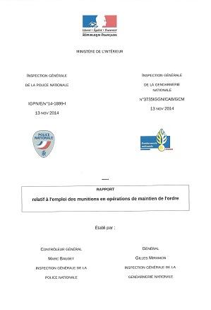 Rapport sur l'emploi des munitions (grenades) au maintien de l'ordre - 13/11/2014 Couv_r10