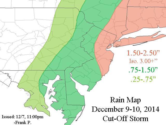 December 9th-10th Forecast Map(s) Cut-Off Coastal Storm Rain_m10