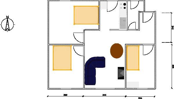 salon sixties sur cuisine ouverte Appart12