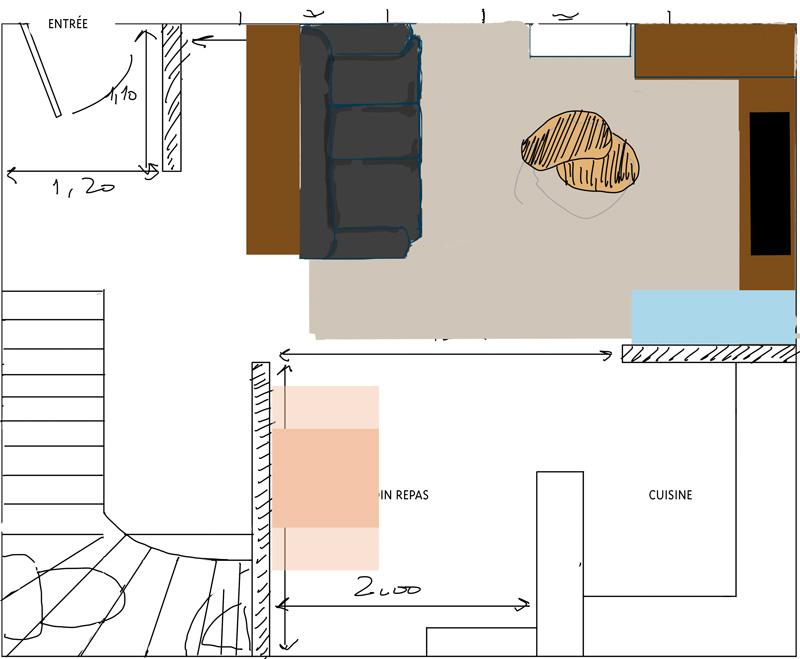 Petit salon en longueur sur cuisine ouverte Plan_10