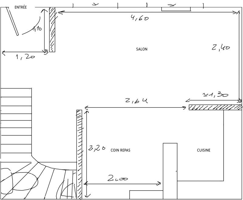 Petit salon en longueur sur cuisine ouverte Plan_s12