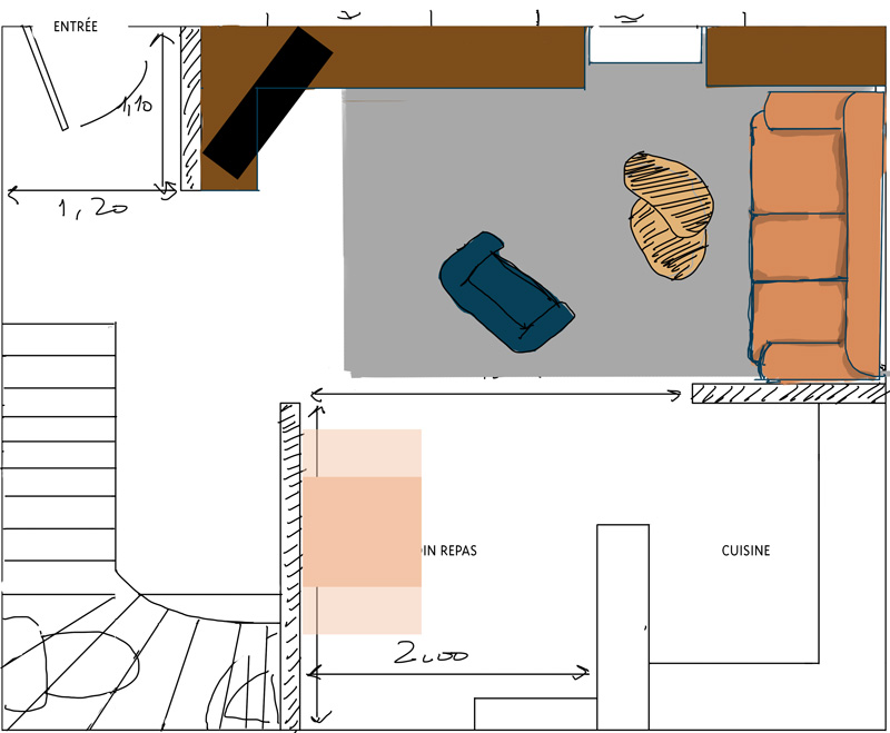 Petit salon en longueur sur cuisine ouverte Plan_s13