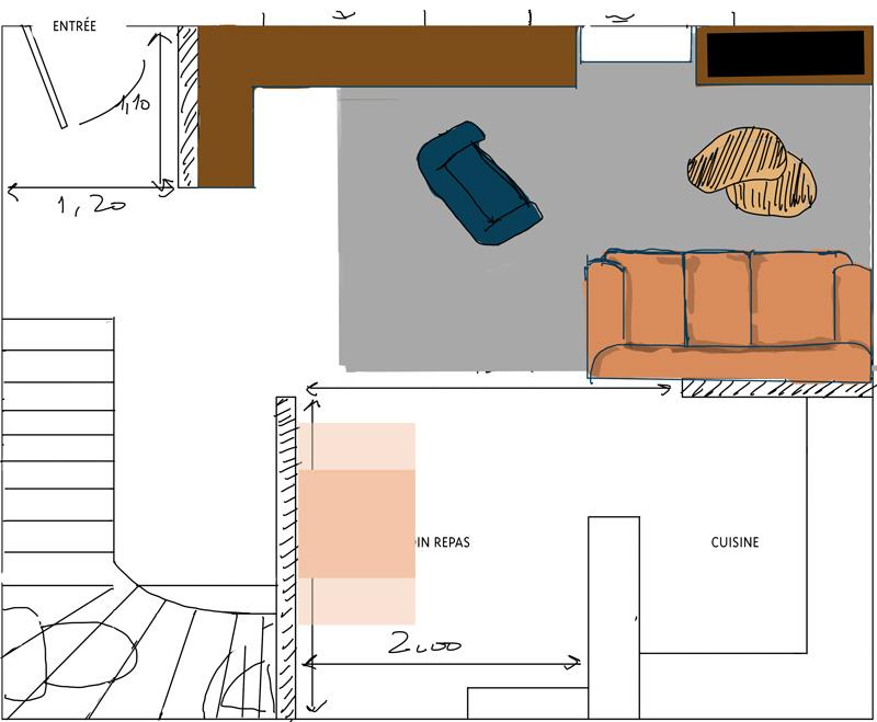 Petit salon en longueur sur cuisine ouverte Plan_s14
