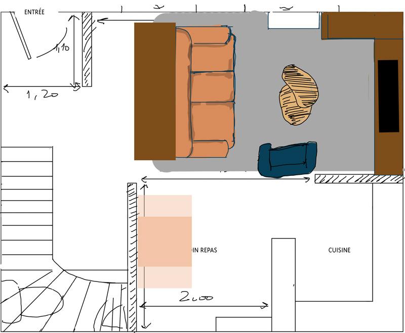 Petit salon en longueur sur cuisine ouverte Plan_s15