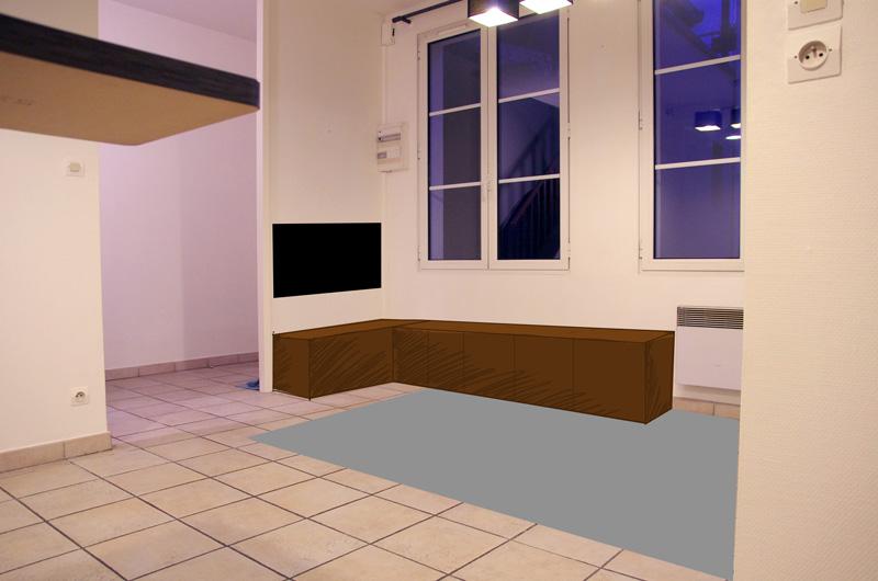 Petit salon en longueur sur cuisine ouverte Tele10