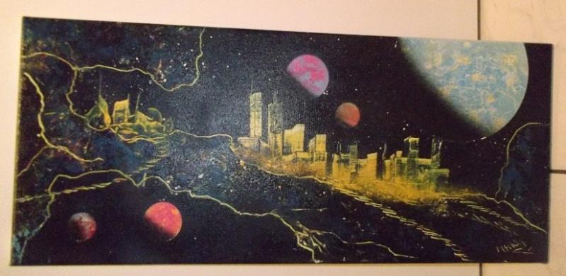 Mes 15 1er tableaux, sur chassis et/ou toiles cartonnées; Bombes : Amsterdam et liquitex. donnez-moi votre avis. Merci, @+. Dscf1919