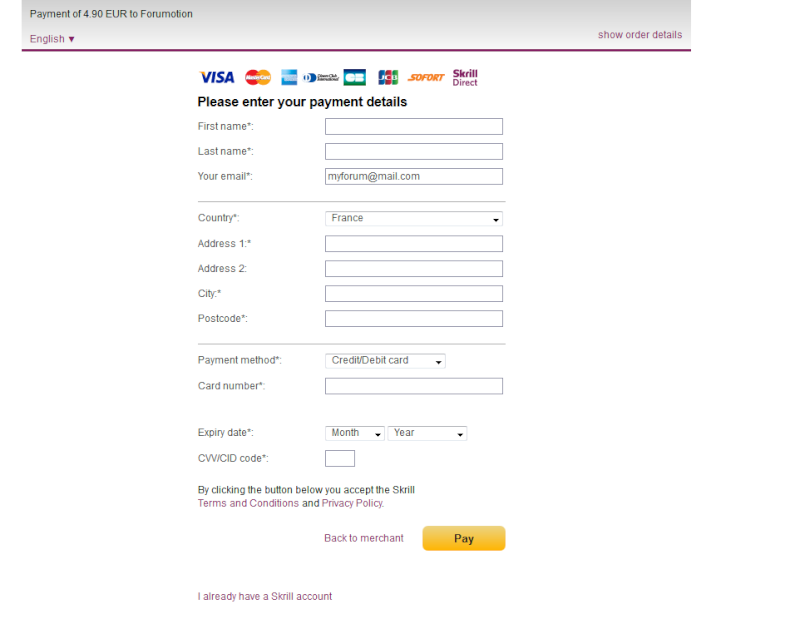 Skrill Payment Method