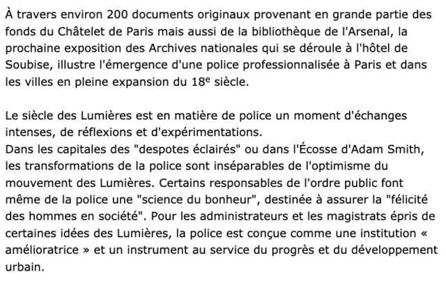 Exposition La Police des Lumières, Archives Nationales Capt1240