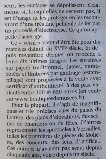 Expo : Graver pour la roi, la Chalcographie du Louvre, 2019 Captu542