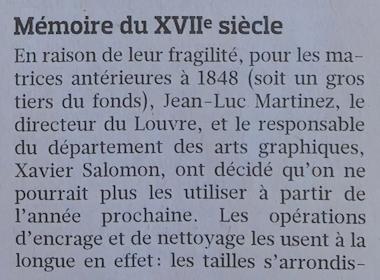 Expo : Graver pour la roi, la Chalcographie du Louvre, 2019 Captu543