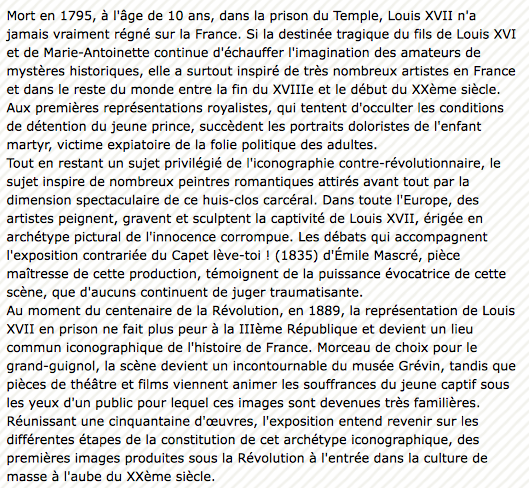 Vizille : Exposition Heurs et malheurs de Louis XVII Captur22