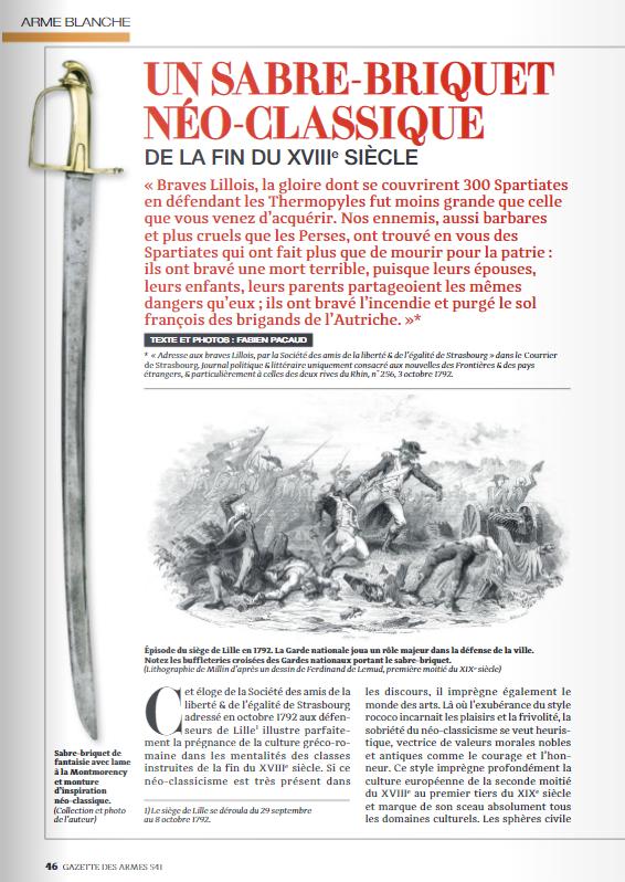 Un sabre-briquet néo-classique de la fin du XVIIIe siècle Ga61010