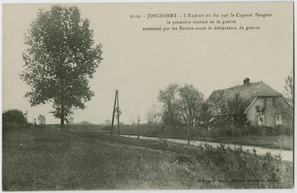 Le premier mort français et le premier coup de canon de la Grande Guerre. Jonche10