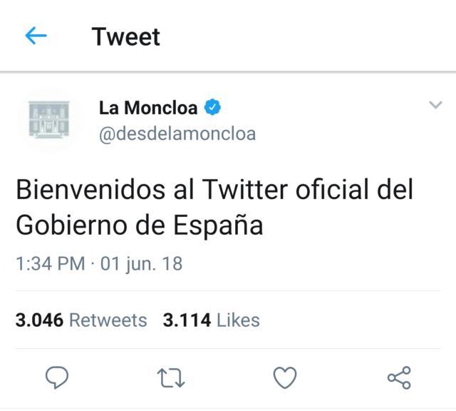 @desdelamoncloa | Twitter oficial del Gobierno de España T_090711