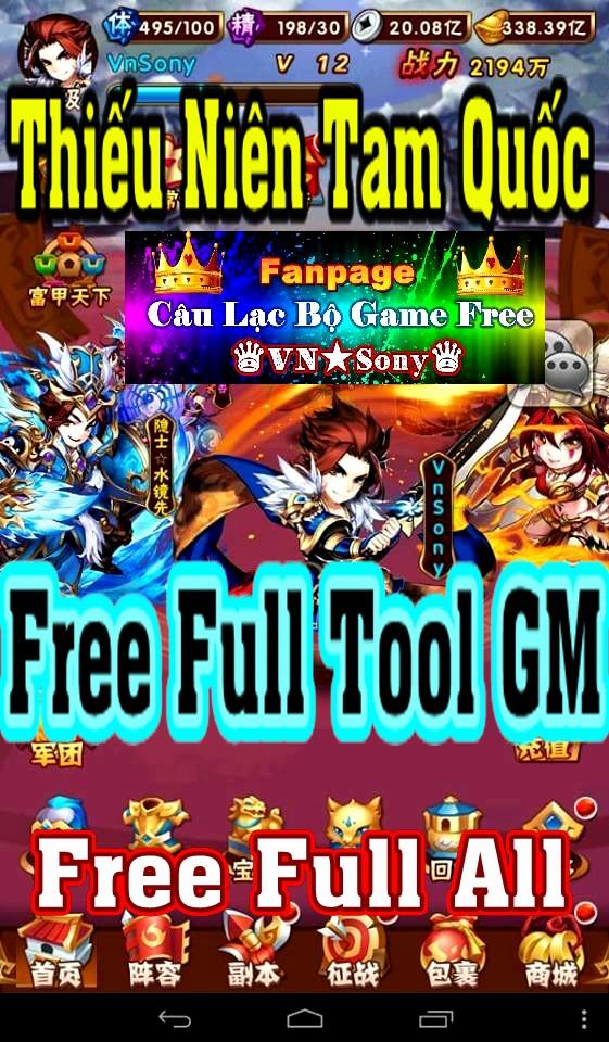 [MobileGame] Thiếu Niên Tam Quốc - Free Full Tool GM Rv118